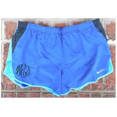 Monogrammed Nike Women's Dri-Fit Running Shorts in Royal Blue Ships in... ($36) ❤ liked on Polyvore featuring activewear, activewear shorts, sport shorts, light purple, shorts and women's clothing