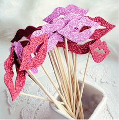 Cheap fun Photo Booth Props on a Stick - Red Rose lips birthday wedding party decoration 20pcs