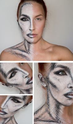 DIY Inspiration: Sketched Face Makeup by Sandra Holmbom. Go to the link for products used and more photos. For the scariest Halloween Makeup EVER by Sandra Hombom go here (81,000 notes). For more of Sandra Holmbom's amazing FX makeup go here: halloweencrafts.tumblr.com/tagged/psychosandra
