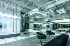 Glass office interior in Shanghai