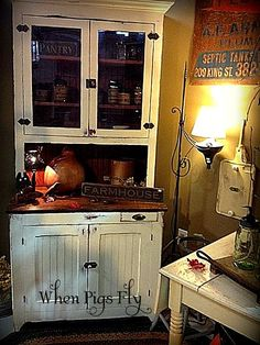 White farmhouse cupboard.
