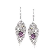 CZ Leaf and Ladybug Earrings. Very hungry ladybugs nibble away at these glittering leaves. Sterling silver with t. white, red and yellow CZs and t. Leaf Jewelry, Gemstone Jewelry, Diamond Jewelry, Gold Jewelry, Fine Jewelry, Sterling Silver Dangle Earrings, Drop Earrings, Animal Jewelry, Diamond Engagement Rings