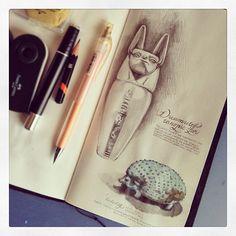 More museum drawings. Midori Travelers Notebook.