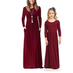 Avaliable now COSPOT Mother and Daughter Beachwear Long Dress Girls and Mom Bohemian Long-sleeved Plain Dress Princess Casual 2018 New Bohemian Party, Bohemian Beach, Mother Daughter Dresses Matching, Plain Dress, Girls Dresses, Summer Dresses, Matching Outfits, Beachwear, Party Dress