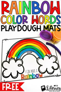 Are your little readers working on learning color words?  Get these printable color word mats for FREE!  Perfect for a hands-on playdough center.  Great for morning tubs or as an engaging literacy center.  Perfect for preschool, Kindergarten or First Grade.  Wonderful for kinesthetic learners.  Perfect to practice the colors of the rainbow in order and also great for fine-motor development.