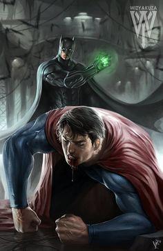 Batman vs Superman, by Wiz Yakuza. How does Superman get out of this one? Batman Vs Superman, Poster Superman, Posters Batman, Batman Arkham, Batman Versus, Funny Batman, Batman Artwork, Captain Marvel, Marvel Vs