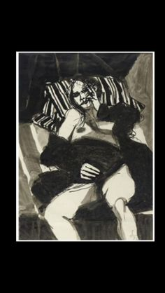 "Frank Lobdell - "" Reclining woman "", 1972 - Ink and wash - 41,5 x 30!cm"