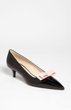 Prada Bow Pointy Toe Pump | Nordstrom It's hard to find low heeled cute pointy shoes @Mary Attia I feel like I have ended the search, no?