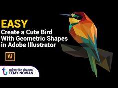 Create a cute bird with geometric shapes in adobe illustrator - YouTube
