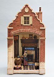 Bluette Meloney designs and creates dollhouse miniature scale rooms and scenes with faux finishes and other realistic effects and textures. Miniature Rooms, Miniature Houses, Dutch Kitchen, Putz Houses, Doll Houses, Diy Doll Miniatures, House Template, Doll House Crafts, Toy Theatre