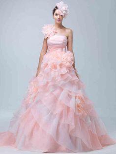 a07de5f1677c1 ウェディングドレス ピックアップスカート ワンショルダー オーガンジー ファスナー フリル フラワー ピンク スウィープ 花嫁 二次会ドレス  Hlb0011
