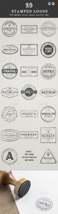 20 Stamped Logos (Photoshop & Illustrator) - Badges & Stickers Web Elements