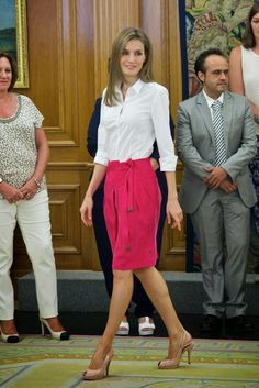 MYROYALSHOLLYWOOD FASHİON:  Queen Letizia attended audiences at Zarazuela Palace, Madrid, July 28, 2014
