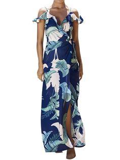 Simplee Apparel Women s Strap Ruffle Cold Shoulder Floral Print Wrap Maxi Dress  Beach 22b100705894