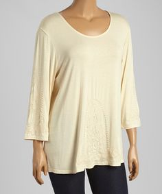 Look at this #zulilyfind! Natural Embroidered Scoop Neck Top - Plus by Simply Irresistible #zulilyfinds