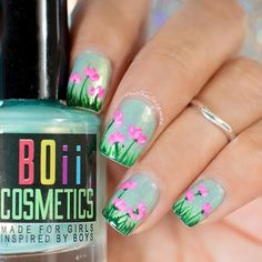spring, teal, green, pink flowers, mani, nails