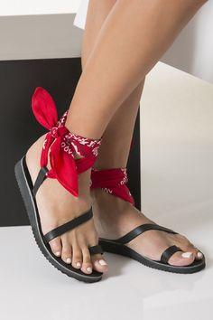 Toe Ring Sandals with Ankle Wrap-Around Bandana Laces, Melina