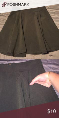 Forest Green High Waisted Skater Skirt Skater Skirt with Pockets Forever 21 Skirts Circle & Skater
