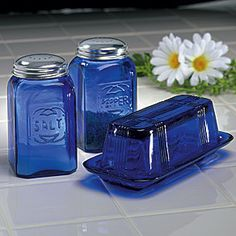 Cobalt Blue Butter Dish Salt Pepper Shakers Retro Depression Style Free Shipping on eBay!  I LOVE Depression era glassware and THIS is much cheaperl