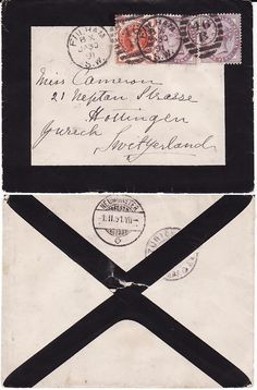 Mourning letter. Special envelopes and stationary would have been used by a household in mourning.