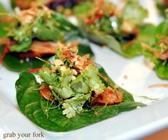 Spicy pork sausage betel leaves & pickled ginger - great entree for Sri Lankan wedding #betel #wedding #srilankan