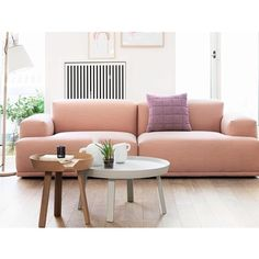 How DIVINE is this #blushpink #sofa by @muutodesign I've been dreaming of this baby for a while  The proportions are beautiful... I think my style is definetly taking a turn towards #nordic #inspired #interiors I can see a Mr.Clooney #planter looking right at home on that white coffee table PS. Don't know how hubby would feel about a #pinkcouch  #interiorinspo #interiordesign #furnituredesign #scandi #scandiinspired #theblock #interiors #loungeroominspo