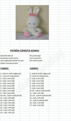 Amigurumi Kawaii Bunny - FREE Crochet Pattern / Tutorial in Spanish: : Amigurum. : Amigurumi Kawaii Bunny – FREE Crochet Pattern / Tutorial in Spanish: : Amigurumi Kawaii Bunny – FREE Crochet Pattern / Tutorial in Spanish: Easter Crochet Patterns, Crochet Bunny Pattern, Crochet Rabbit, Crochet Amigurumi Free Patterns, Crochet Bear, Crochet Dolls, Free Crochet, Crochet Lace, Diy Crafts Crochet