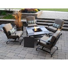 Outdoor Patio Conversation Set With Wood Burning Fire Pit Centerpiece   Set  Includes 1 Table With Ceramic Tiled Top And 4 Chairs