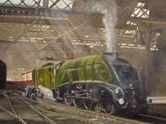 Railway Painting by Michael Land Steam Trains Uk, Old Steam Train, Train Posters, Railway Posters, Diesel Locomotive, Steam Locomotive, Abandoned Castles, Abandoned Mansions, Abandoned Places