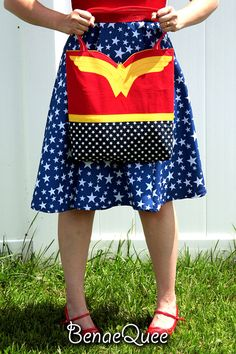 Wonder Woman Costume Inspired Tote Bag with Pockets