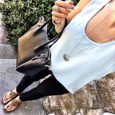 IG @mrscasual <click through to shop this look> Chambray tank, Black skinny jeans, Sole Society tote, tory burch millers. Buy Nordstrom Anniversary sale catalog items on mrscasual.com.