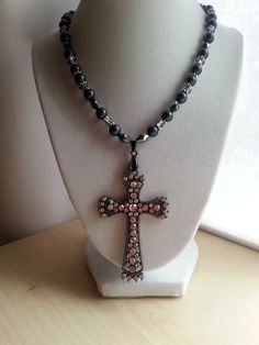 Large crystal black cross on black silver and by ILoveBeads247, $18.00