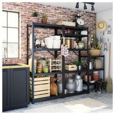 Ikea Bror Shelving Unit Black In 2019 Shelves Ikea Kitchen Organization, Kitchen Storage, Kitchen Decor, Metal Kitchen Shelves, Garage Storage, Open Pantry, Kitchen Pantry, Diy Regal, Sweet Home