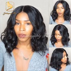 Middle part full lace human hair wigs short bob wavy lace front wigs brazilian full lace wig with baby hair glueless wavy wigs