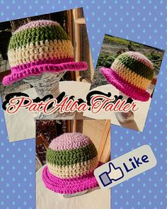 Sombrero colorido tejido a crochet ✔ #PatAlbaTaller #diseñodeautor #emprendedora #tejidos #crochet #artesana #handmade