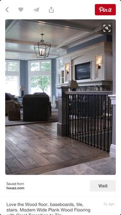 flooring aesthetic ***LOVE the way the hardwood meets the tile! The whole look with ceiling. Floor to ceiling bay window area and the wood with black metal for railings. Style At Home, Modern Wood Floors, Wood Flooring, Flooring Ideas, Kitchen Flooring, Hand Scraped Flooring, Gray Hardwood Floors, Hardwood Types, Distressed Wood Floors