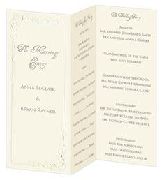 tri fold wedding program paper