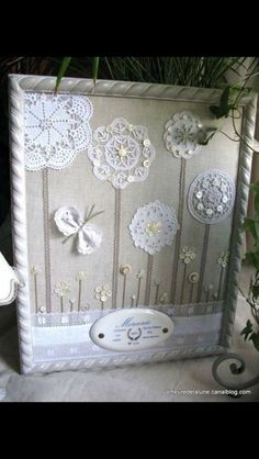 Great way to repurpose dolies and vintage brooches. This would be great for a baby's room, using family/heirloom doilies. Either dye the doilies for color or use a colorful fabric backdrop? Doilies Crafts, Fabric Crafts, Sewing Crafts, Framed Doilies, Lace Doilies, Crochet Doilies, Button Art, Button Crafts, Doily Art