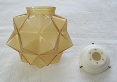 "Art Deco frosted amber glass geometric ""star"" globe-type lampshade, c.1930s (SOLD) - www.vanishederas.com"