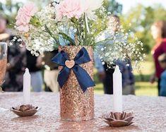 hand made rose gold glitter centerpieces 7 tall Fine glitter Navy Wedding Centerpieces, Glitter Centerpieces, Glitter Vases, Green Centerpieces, Gold Wedding Decorations, Wedding Vases, Rose Gold Glitter, Wedding Ideas, Gold Sequins