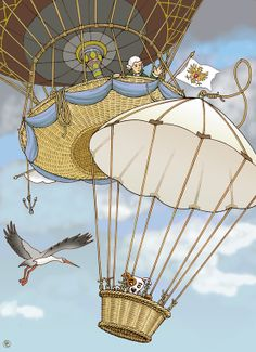 Illustration of BaerenzCao for a youth book about the history of Frankfurt/Main. Outline on paper. Title: The first flight of Jean Pierre Blanchard with a gas ballon in the year 1785 in Frankfurt/Main. From 700 meters Blanchard left over the city his dog safely sink into a parachute to the ground. The first use of a parachute in the history of aviation. A few weeks later he had to even jump off with a parachute from his balloon to save himself .