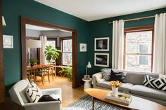 Paint colors that match this Apartment Therapy photo: SW 6258 Tricorn Black, SW 6048 Terra Brun, SW 7026 Griffin, SW 7022 Alpaca, SW 2847 Roycroft Bottle Green