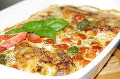 Mozzarella - Hähnchen in Basilikum - Sahnesauce 1