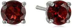 Sterling Silver Round Garnet Earrings ** You can get additional details at