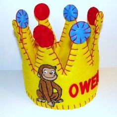 Boys Curious George Personalized Birthday Crown Hat