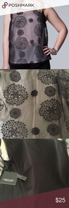 Nwt simply vera wang popover tank Really cute! Front, stiff, sheer embroidered overlay and soft , stretchy back.  Throw on with a pair of jeans for a casual night out or dress it up with a cool metallic skirt for the holidays. Simply Vera Vera Wang Tops