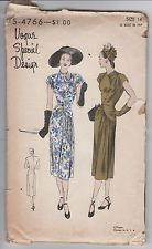 Vintage #4766, year 1947 Vogue Special Design Sewing Pattern Womens Dress size 14