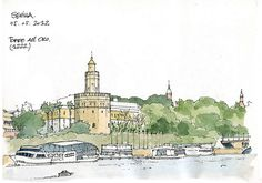 """Torre del Oro"" Gerard Michel sketchcrawl, in Sevilla (Seville), Spain along the… Learn To Sketch, Artist Journal, Famous Art, Landscape Drawings, Sketch Inspiration, Urban Sketchers, Watercolor Sketch, Michel, Graphic Design Illustration"