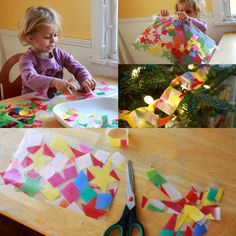 A stained glass paper chain for the Christmas tree!
