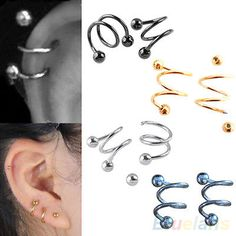 1 PCS Punk Stainless Steel S Spiral Helix Ear Stud Lip Nose Ring Cartilage Piercing - Cartilage Piercing Piercings Monroe, Ear Piercings, Lip Piercing Labret, Body Piercing, Unique Nose Rings, Eyebrow Ring, Punk Jewelry, Body Jewelry, Black Jewelry